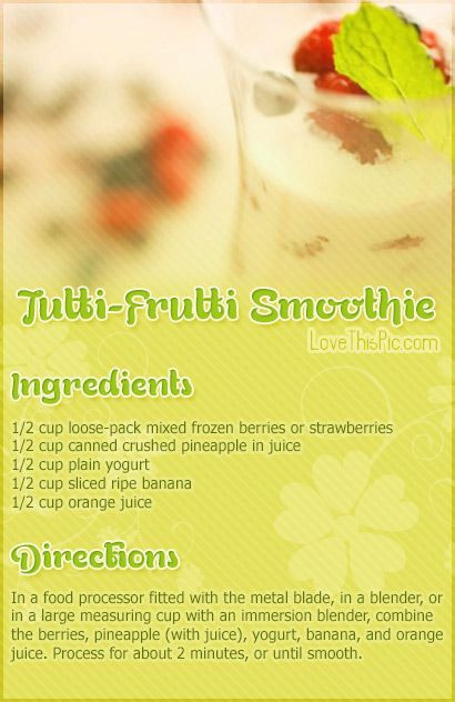 Healthy Blender Recipes For Weight Loss  Tutti Frutti Smoothie Recipe s and