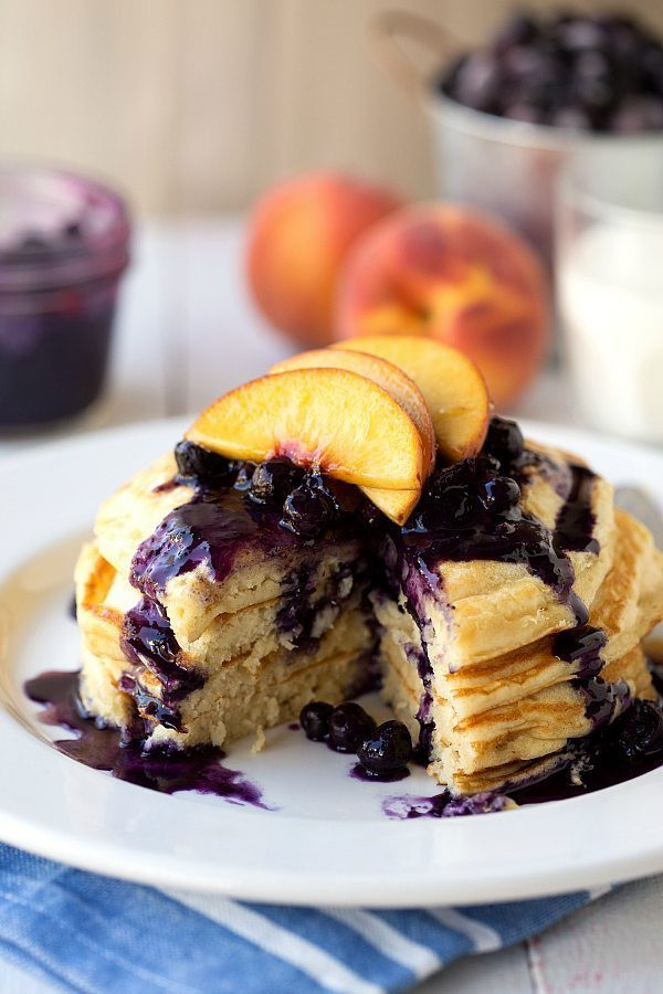 Healthy Blueberry Pancakes  Healthy Greek Yogurt Pancakes with a Blueberry Peach Syrup
