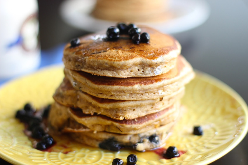 Healthy Blueberry Pancakes  Healthy Whole Wheat Blueberry Pancakes Hot Chocolate Hits