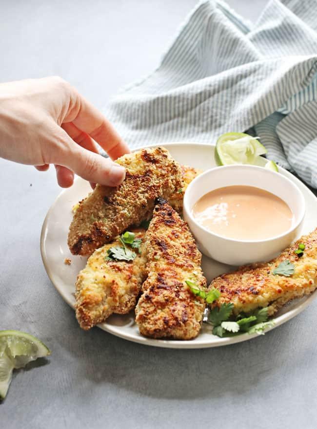 Healthy Breaded Chicken Tenders  Crispy Almond Breaded Chicken Tenders Grain Free