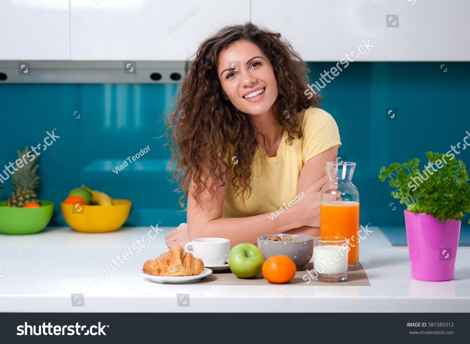 Healthy Breakfast At Home  Young Woman Having Breakfast At Home Eating Healthy Food