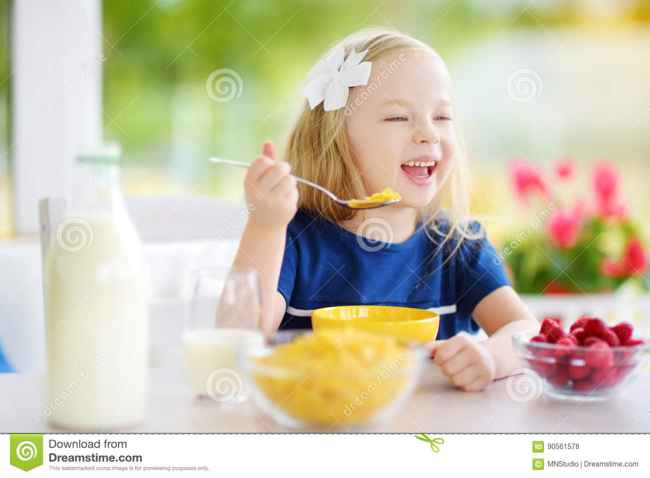 Healthy Breakfast At Home  Cute Children Eat Healthy Food Enjoying Breakfast Stock