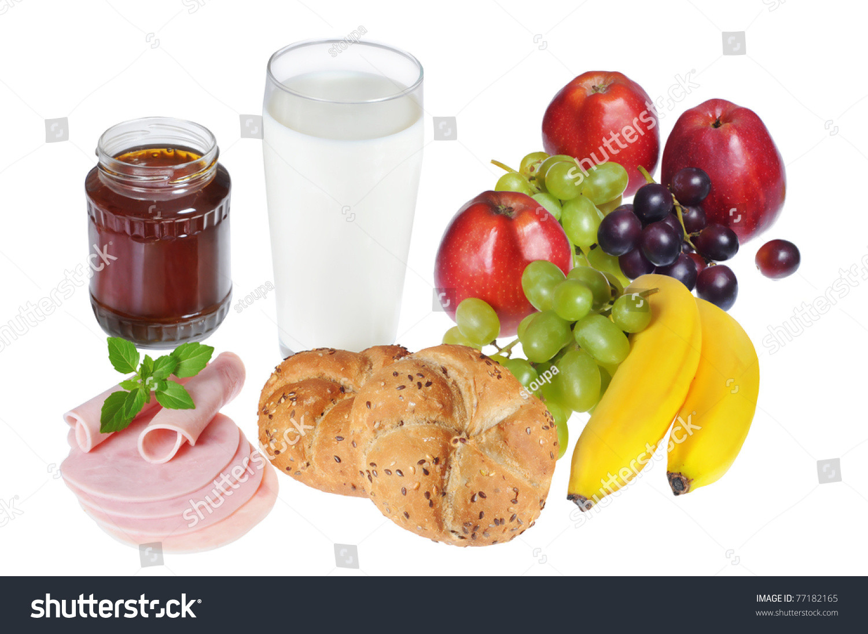 Healthy Breakfast Baked Goods  Healthy Breakfast With Baked Goods Fruits Milk Honey