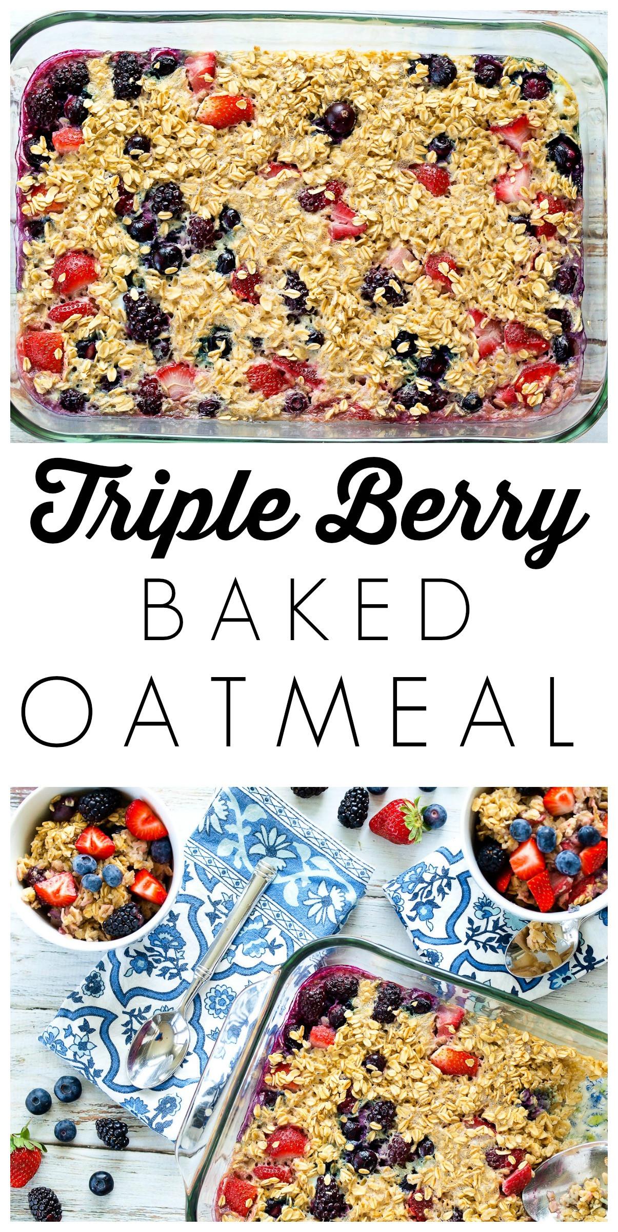 Healthy Breakfast Baking Recipes  Triple Berry Baked Oatmeal Happy Healthy Mama