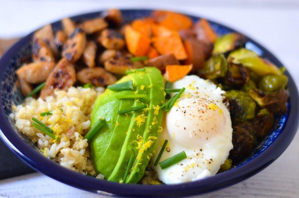 Healthy Breakfast Bowl Recipe  Chicken Sausage Grain Bowl
