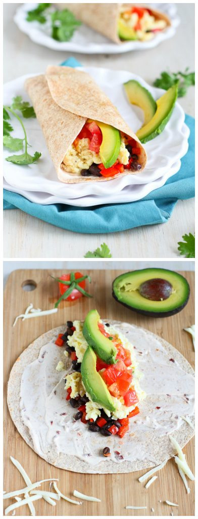 Healthy Breakfast Burrito  Healthy Breakfast Burrito with Avocado & Chipotle Yogurt