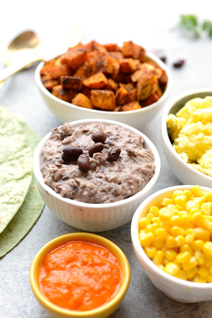 Healthy Breakfast Burrito Meal Prep  Meal Prep Ve arian Black Bean Breakfast Burritos Fit