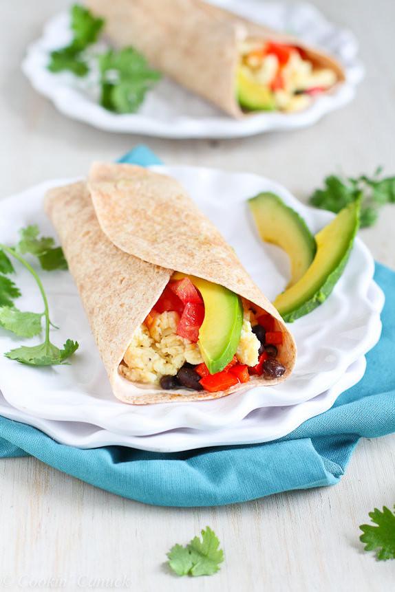 Healthy Breakfast Burrito Recipe  Healthy Breakfast Burrito with Avocado & Chipotle Yogurt