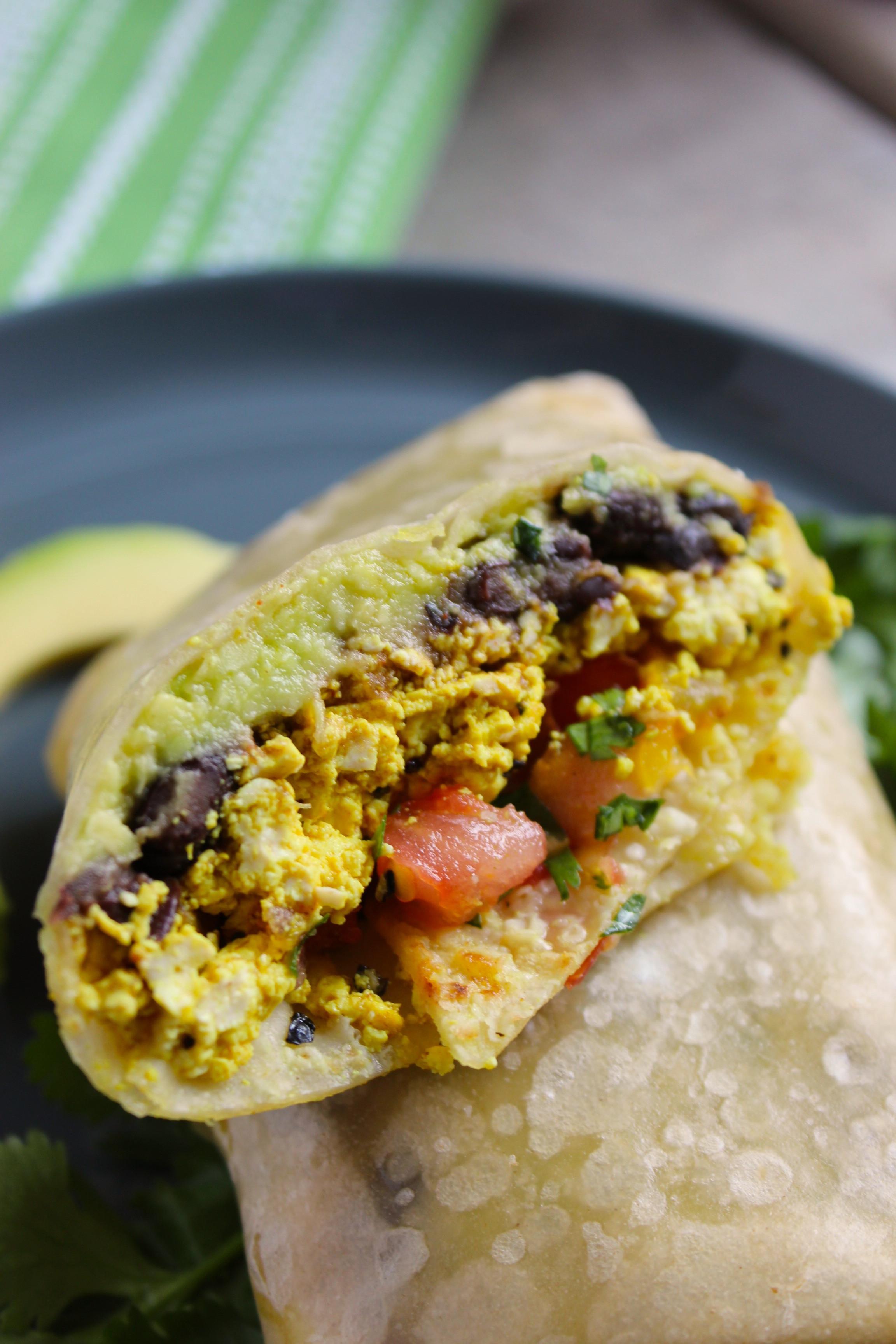Healthy Breakfast Burrito  Healthy Tofu Breakfast Burritos The Fitchen