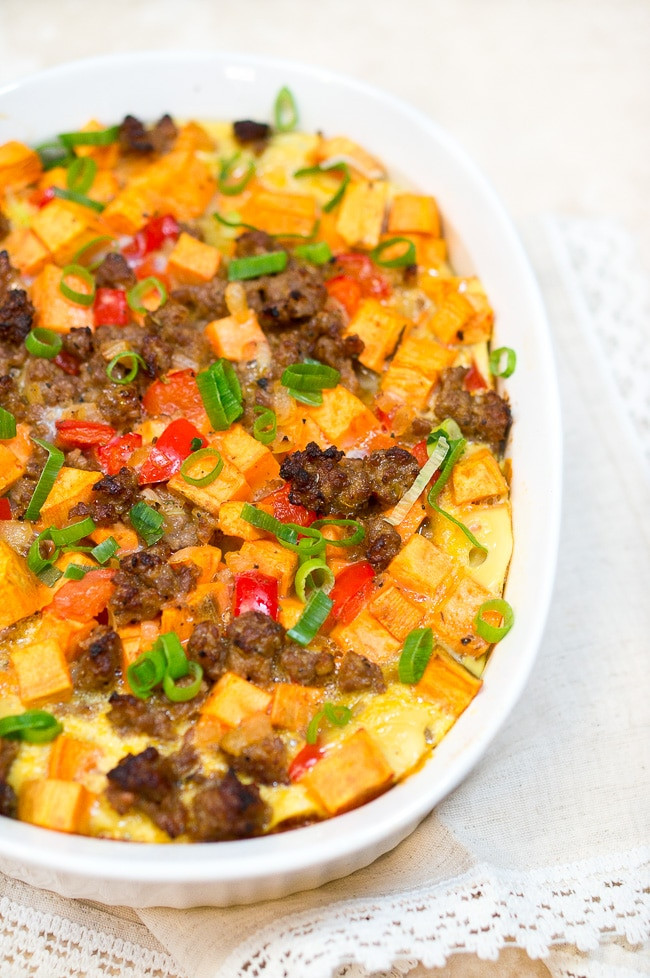 Healthy Breakfast Casserole With Sausage  Sweet Potato Sausage and Egg Breakfast Casserole Paleo
