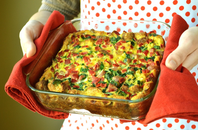 Healthy Breakfast Casserole With Spinach  Clean Eating Spinach and Bell Pepper Breakfast Casserole