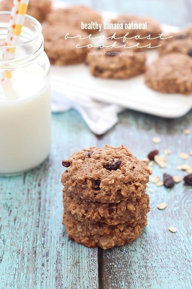 Healthy Breakfast Cookie  Healthy Banana Oatmeal Breakfast Cookies Yummy Healthy Easy