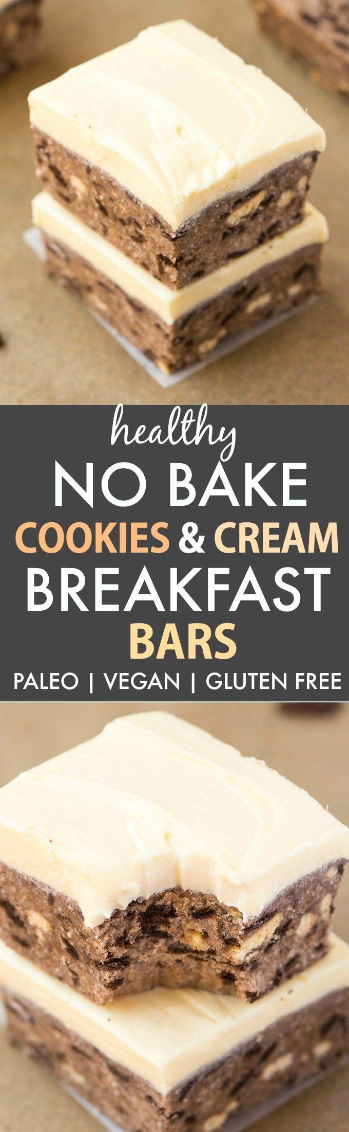 Healthy Breakfast Cookies And Bars  Healthy No Bake Cookies and Cream Breakfast Bars Paleo
