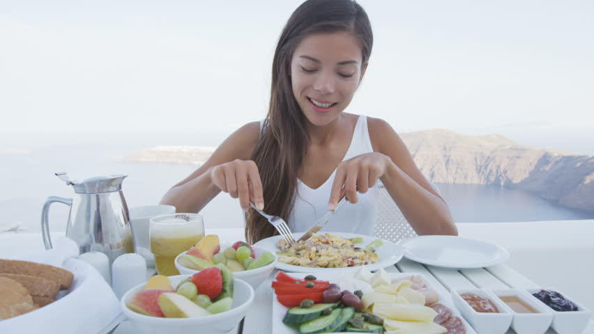 Healthy Breakfast Eating Out  Fat Woman Gets Out From The Sea Stock Footage Video