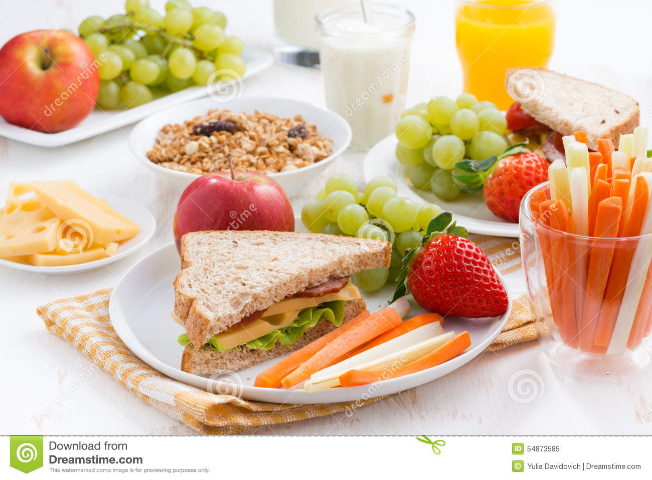 Healthy Breakfast For School  Healthy School Breakfast With Fruits And Ve ables Stock