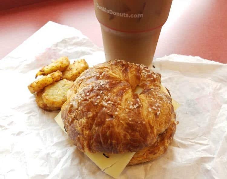 Healthy Breakfast From Dunkin Donuts  Dunkin Donuts Pretzel Croissant Breakfast Sandwich All