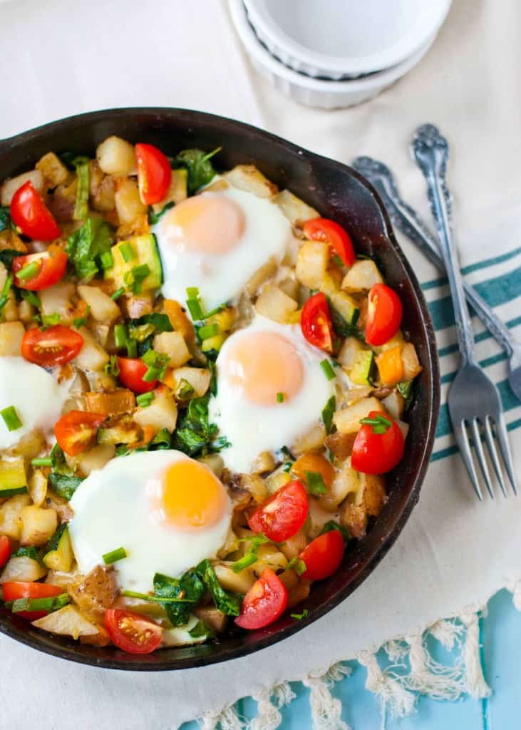 Healthy Breakfast Hash  Red Potato Bell Pepper and Spinach Breakfast Hash