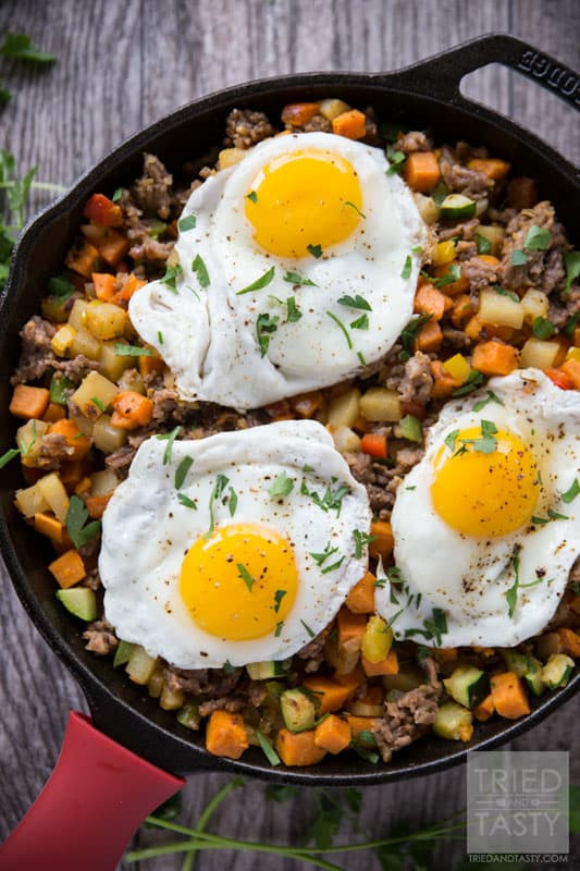 Healthy Breakfast Hash  Sweet Potato & Sausage Breakfast Hash Tried and Tasty