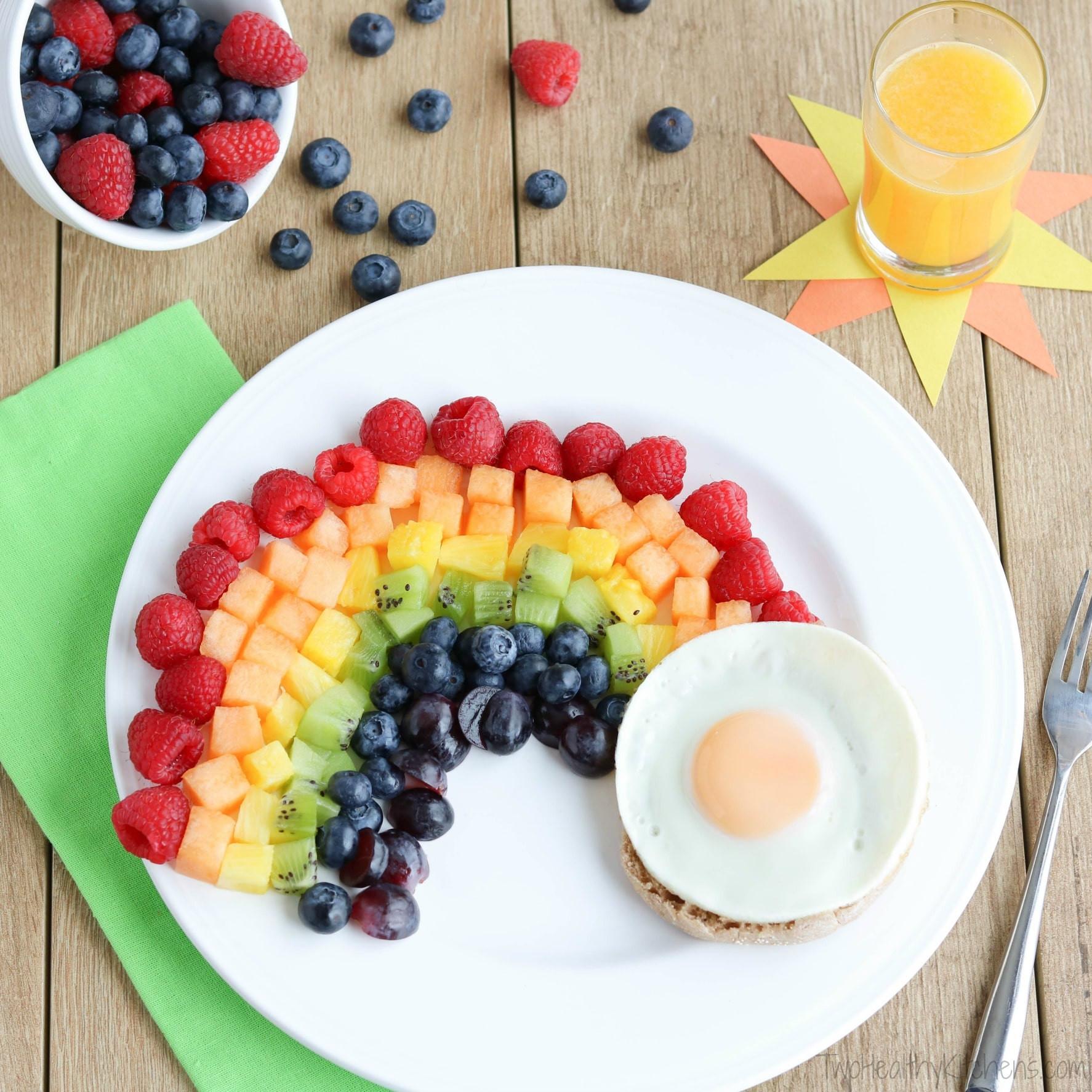 Healthy Breakfast Kids  Fruit Rainbow with a Pot of Gold Fun Breakfast Idea for