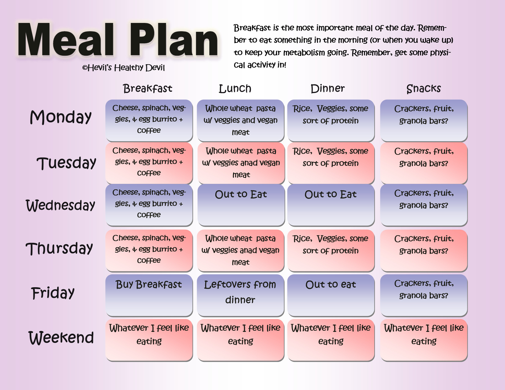 Healthy Breakfast Lunch And Dinner Chart  Weekly Meals and Workouts 87