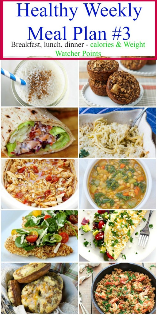 Healthy Breakfast Lunch And Dinner Chart  Healthy Weekly Meal Plan 3 Food Done Light