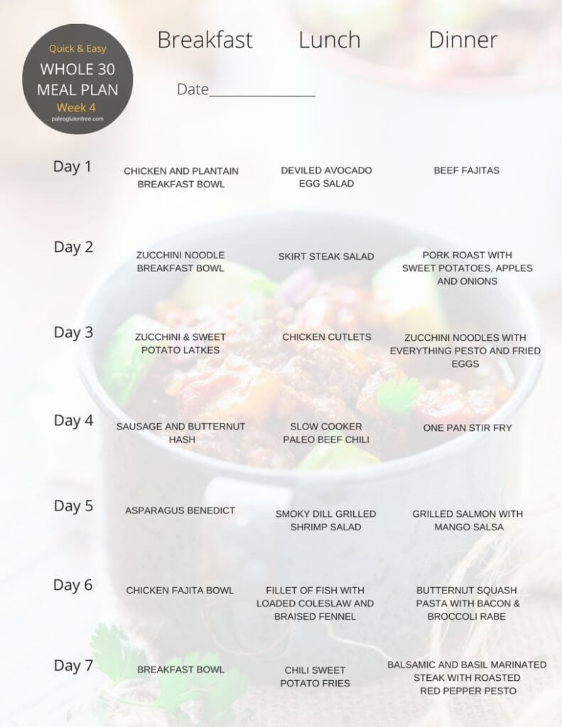 Healthy Breakfast Lunch And Dinner Chart  Whole 30 Meal Plan for 30 Days Paleo Gluten Free Eats