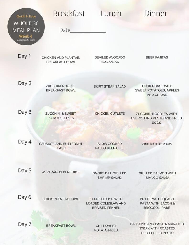 Healthy Breakfast Meal Plan  Whole 30 Meal Plan for 30 Days Paleo Gluten Free Eats
