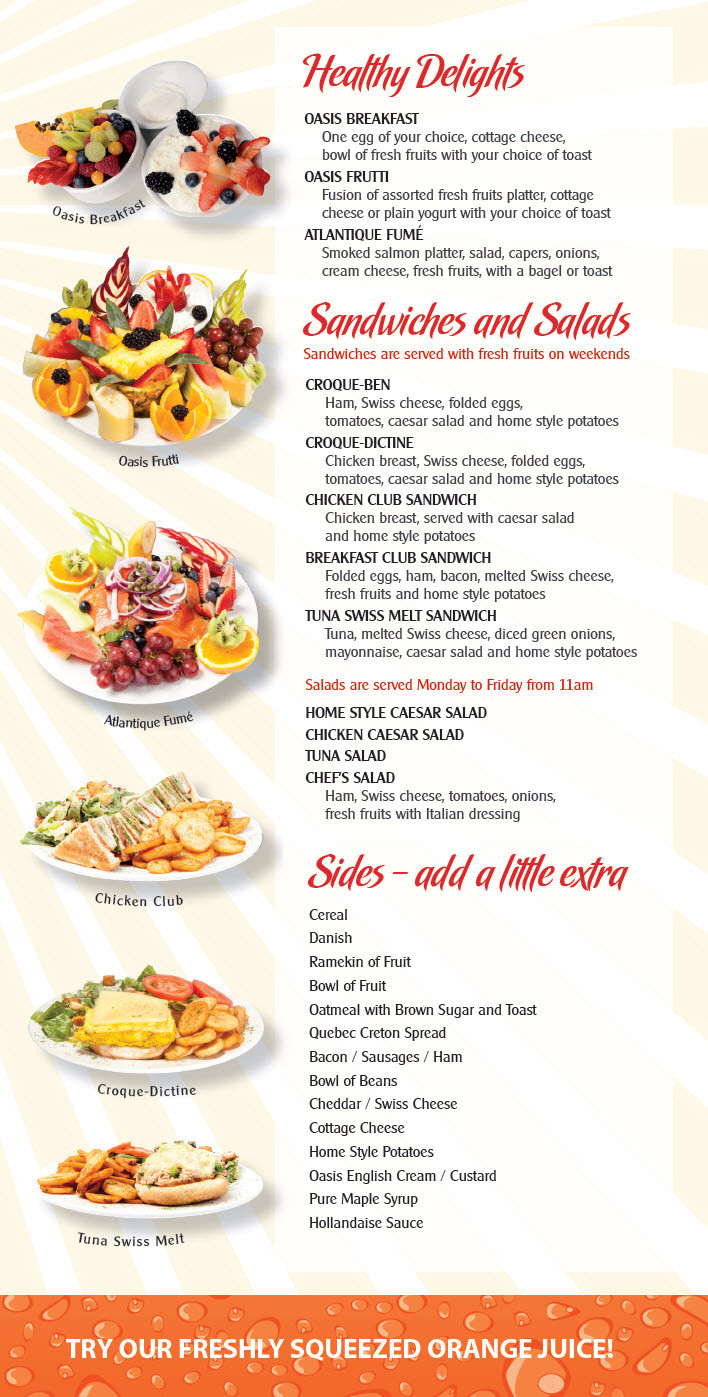 Healthy Breakfast Menu  EggsOasis Restaurant – Breakfast and Lunch – Menu
