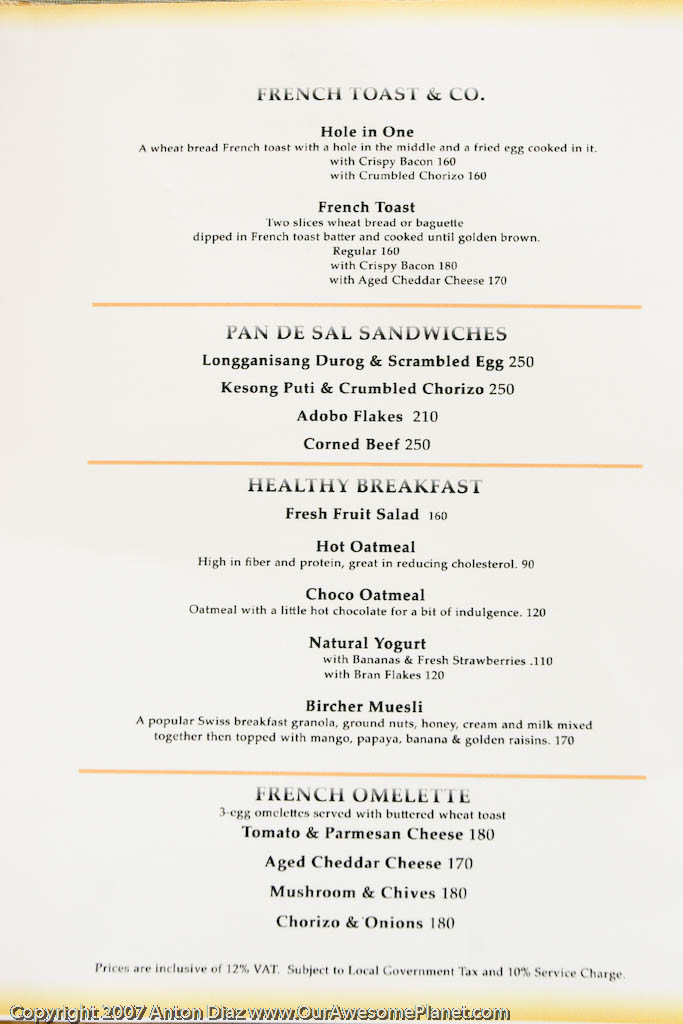 Healthy Breakfast Menu  The Rebirth of Chateau 1771 Greenbelt 5 • Our Awesome Planet