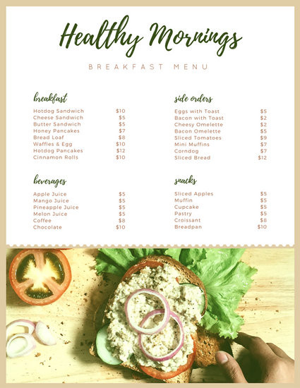 Healthy Breakfast Menu  Menu Templates Canva