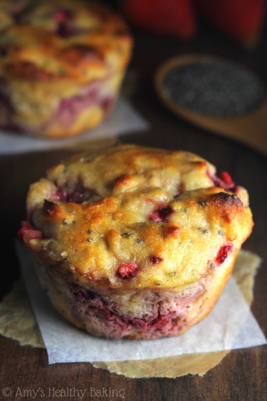 Healthy Breakfast Muffins Protein  Strawberry Lemon Chia Seed Protein Muffins
