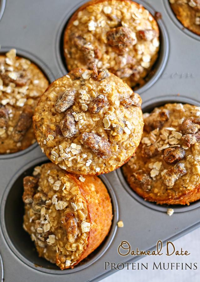 Healthy Breakfast Muffins Protein  Oatmeal Date Protein Muffins Healthy Breakfast Ideas