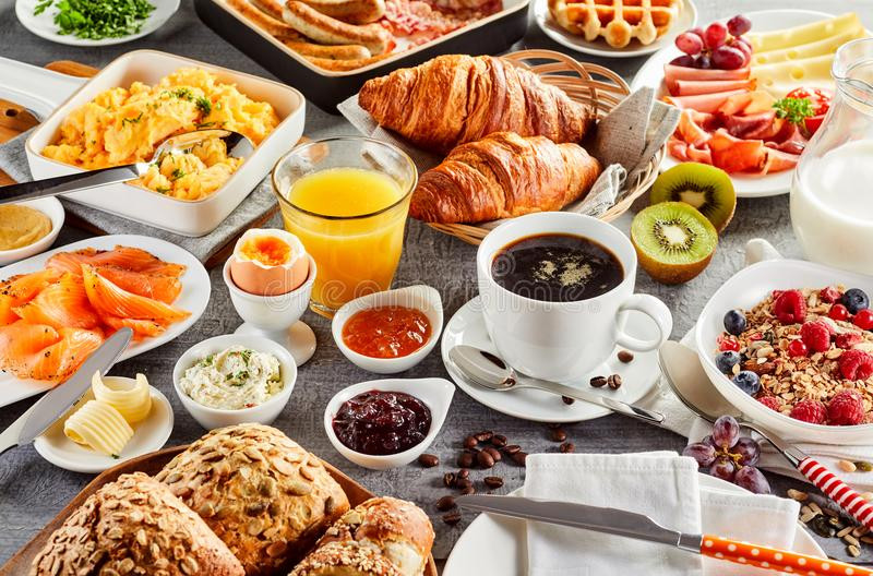 Healthy Breakfast New York  Huge Healthy Breakfast Spread A Table Stock Image
