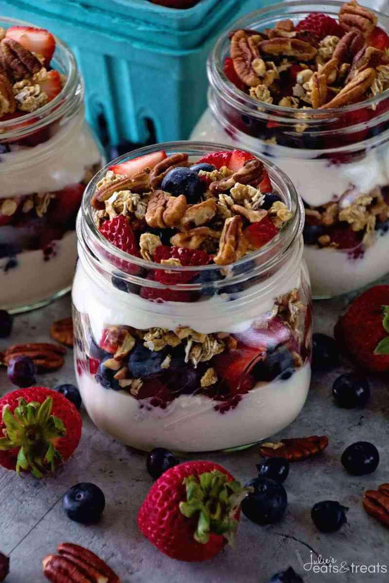 Healthy Breakfast Parfait Recipes  Berry Yogurt Breakfast Parfait VIDEO Julie s Eats & Treats