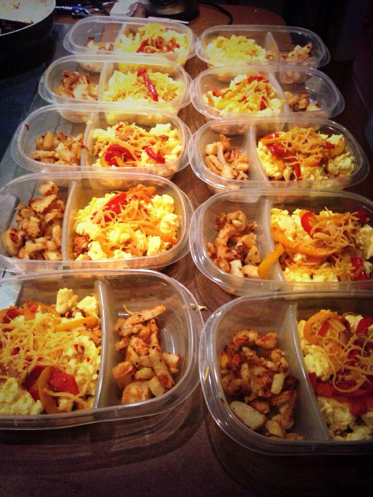 Healthy Breakfast Prep  Breakfast meal prep Egg beaters ground turkey peppers