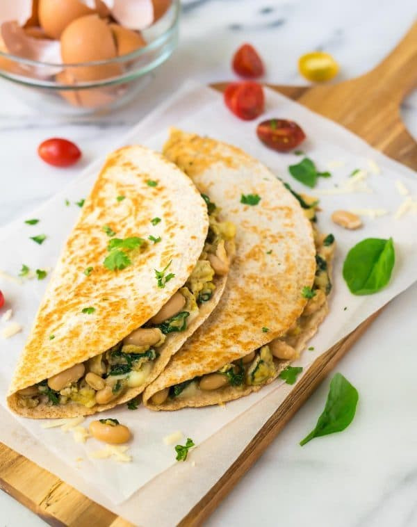 Healthy Breakfast Quesadilla  Breakfast Quesadilla with Cheese Spinach and White Beans