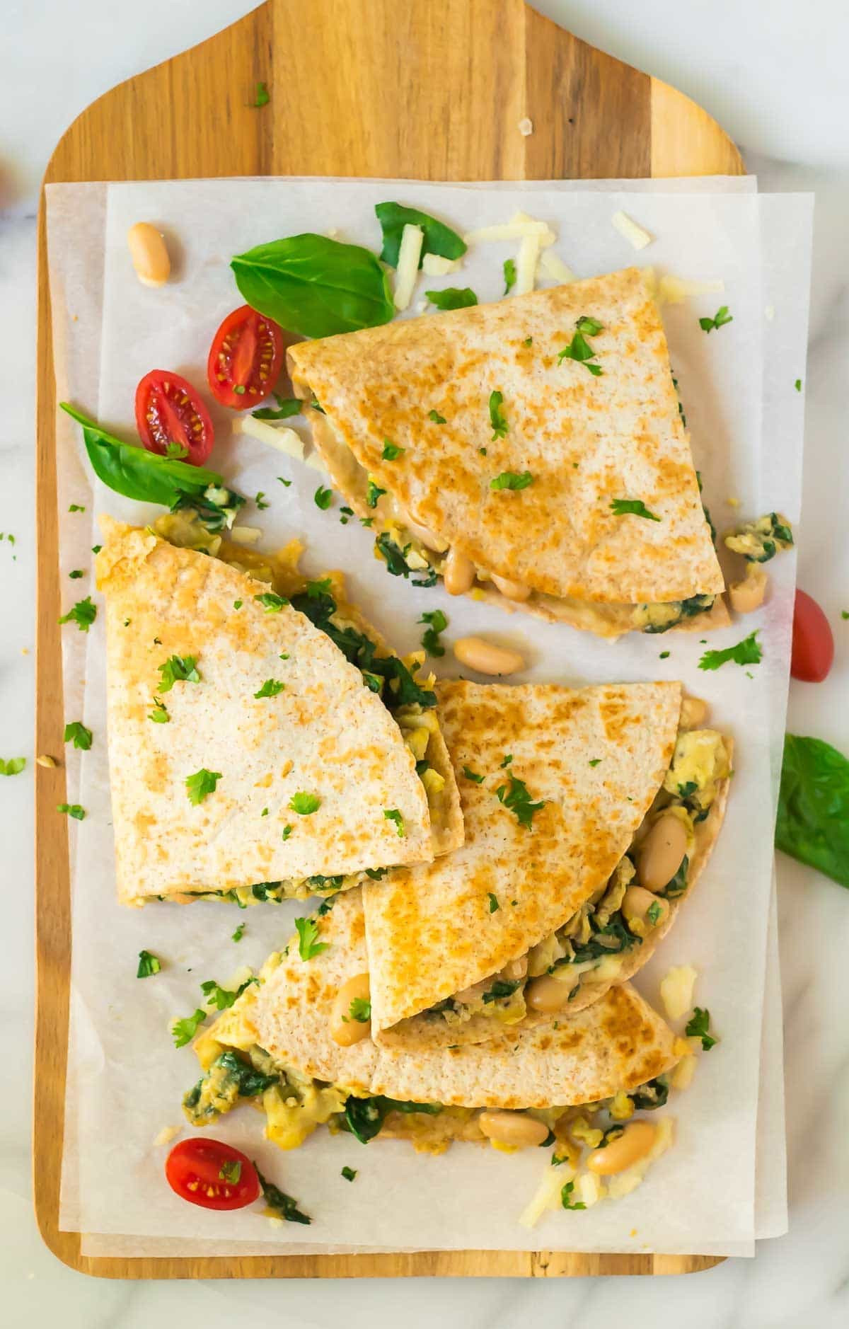 Healthy Breakfast Quesadilla Recipes  Breakfast Quesadilla with Cheese Spinach and White Beans