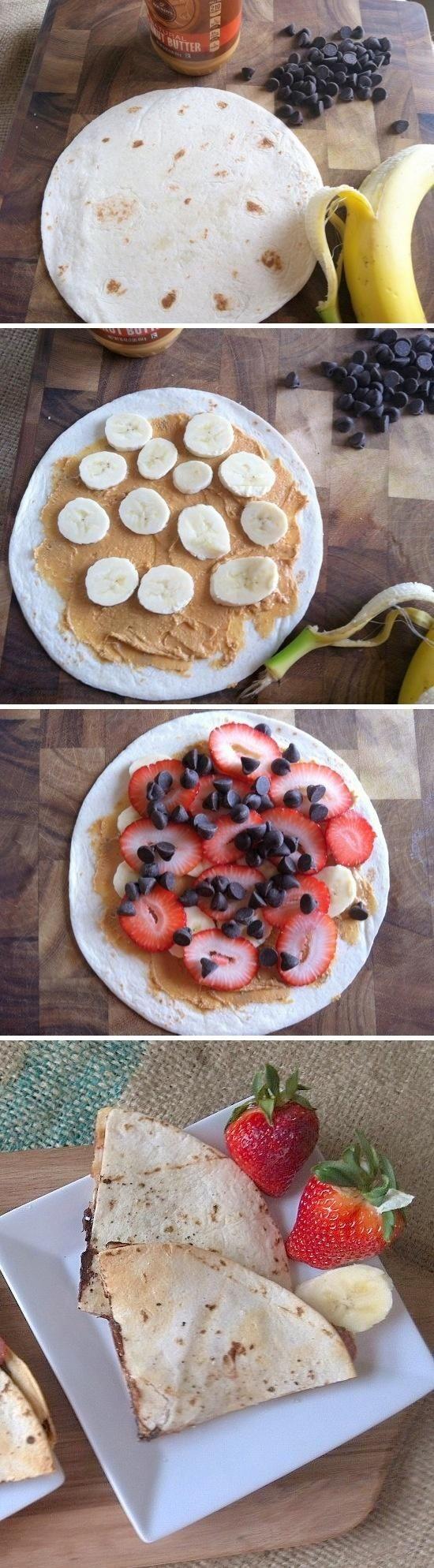 Healthy Breakfast Quesadilla  Breakfast Quesadillas Tortilla nut butter strawberries