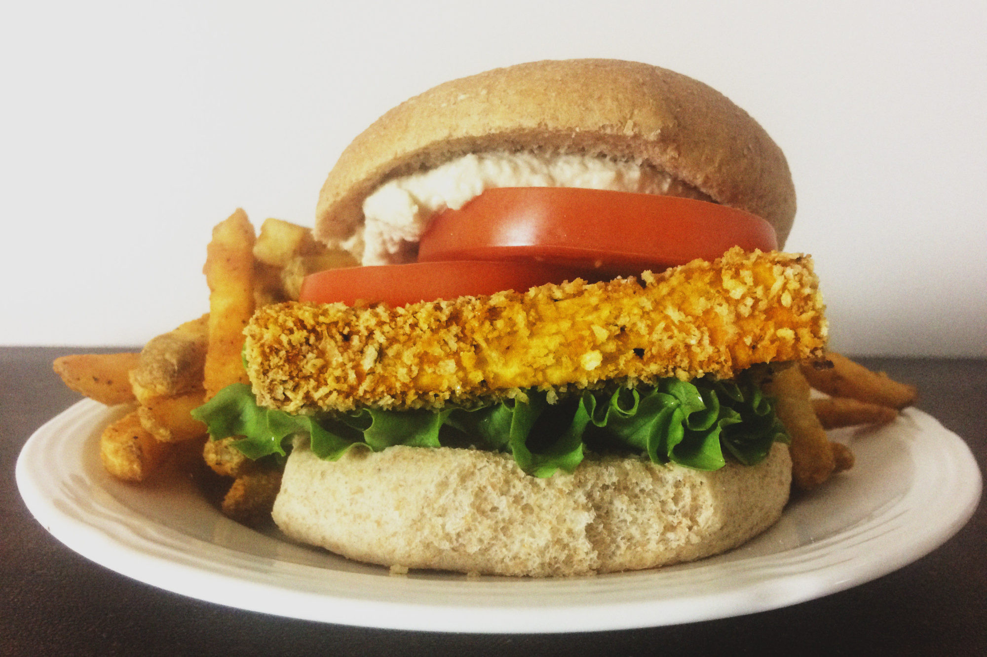 "Healthy Breakfast Sandwich Fast Food  Healthy Fast Food Style Crispy ""Chicken"" Sandwich Vegan"