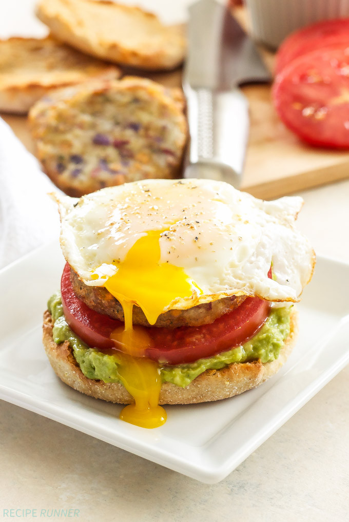 Healthy Breakfast Sandwiches  Open Faced Egg Avocado and Hash Brown Breakfast