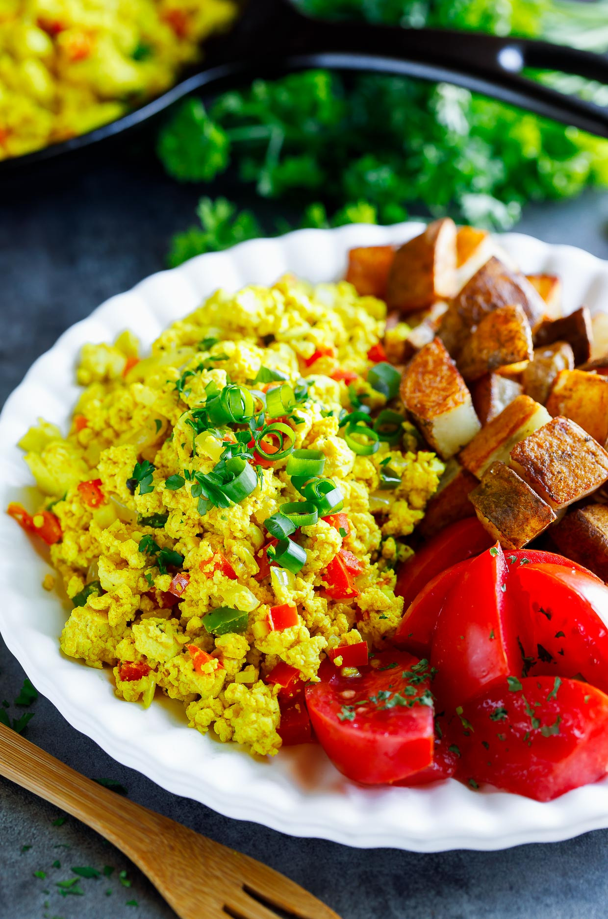 Healthy Breakfast Scramble  Garden Veggie Tofu Scramble Tasty Vegan Breakfast Recipe