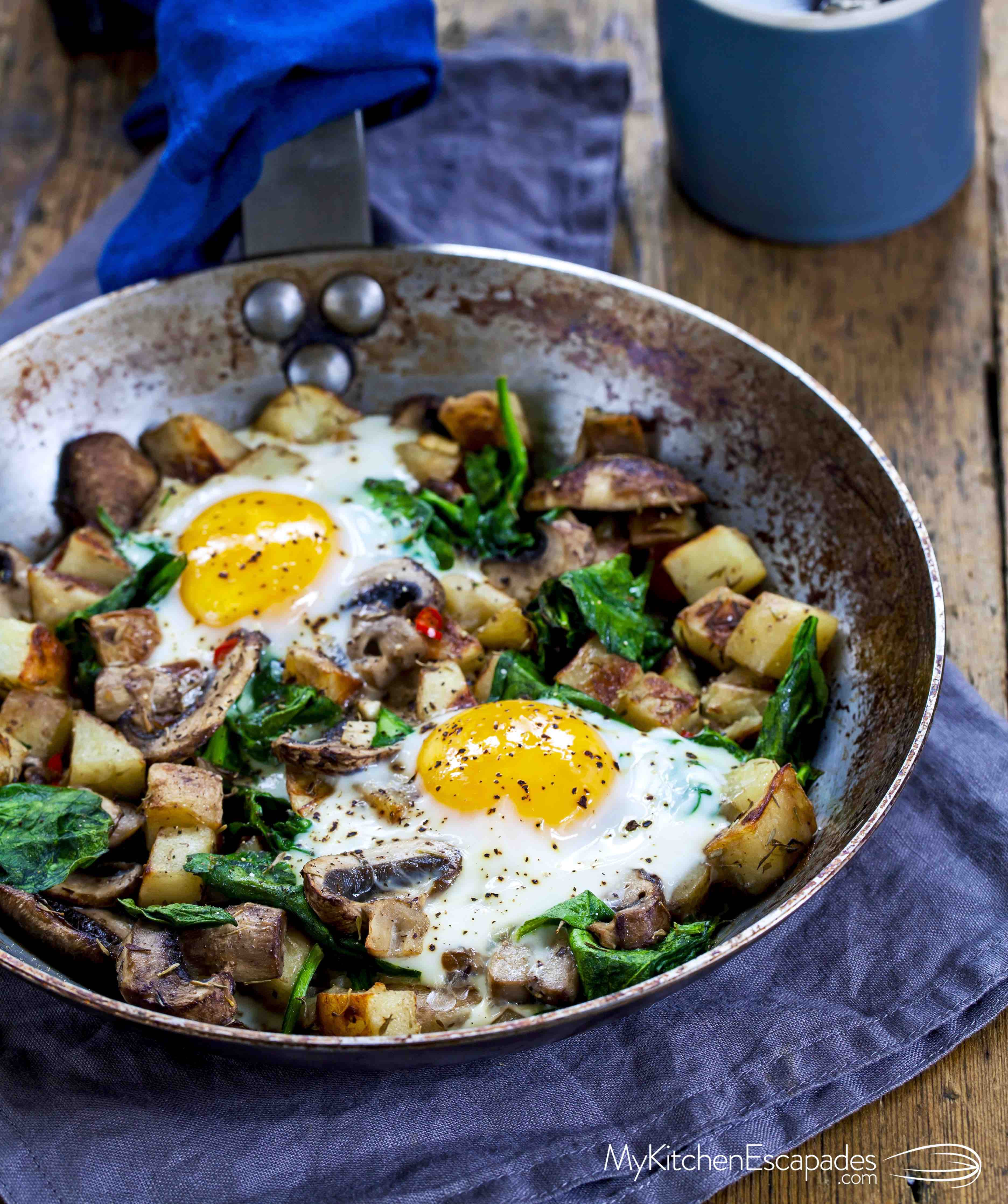Healthy Breakfast Skillet  Breakfast Skillet Eggs Spinach and Mushrooms