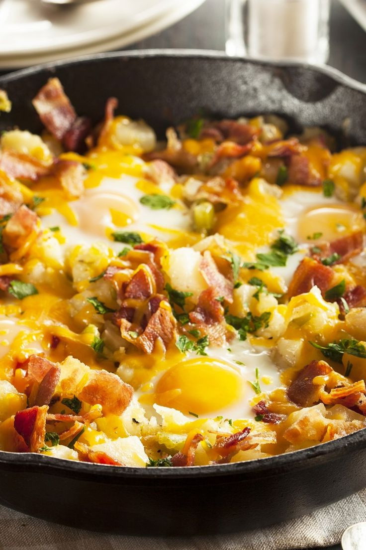 Healthy Breakfast Skillet  Cheesy Potato Bacon Egg Skillet – Best Easy Fast & Healthy