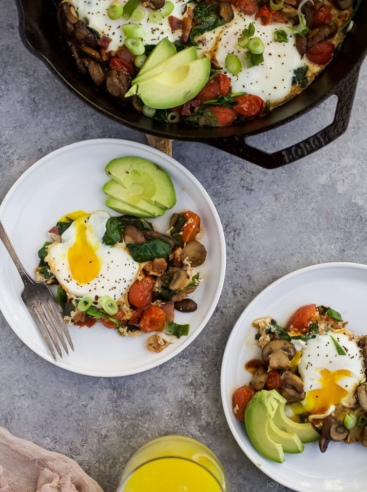 Healthy Breakfast Skillet  Spinach Mushroom Breakfast Skillet with Eggs