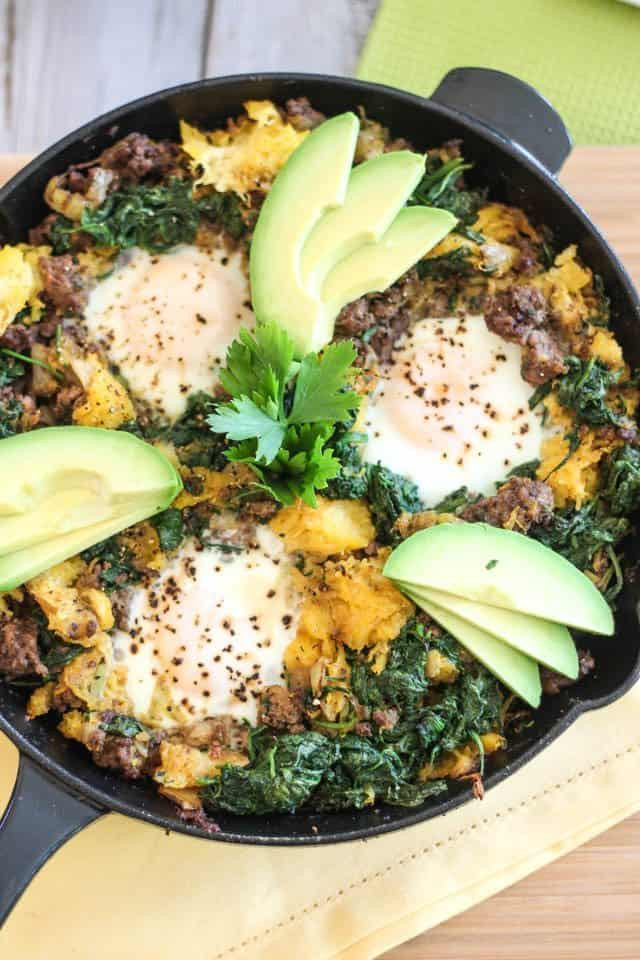 Healthy Breakfast Skillet  Paleo Ground Beef & Butternut Squash Breakfast Skillet