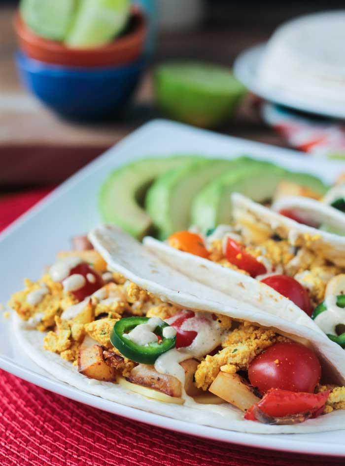 Healthy Breakfast Tacos  Healthy Breakfast Tacos w Tofu & Roasted Potatoes