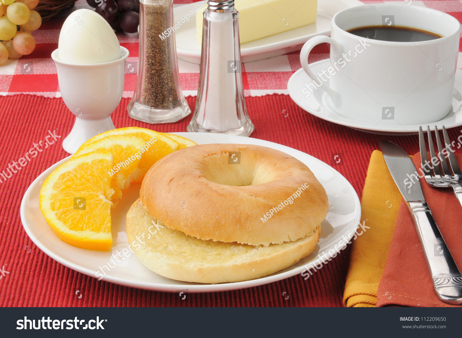 Healthy Breakfast With Boiled Eggs  Healthy Breakfast With A Hard Boiled Egg And A Bagel Stock