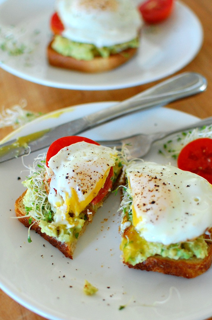 Healthy Breakfast With Eggs And Avocado  Avocado Toast with Fried Egg
