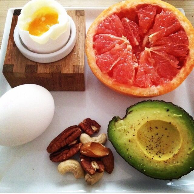 Healthy Breakfast With Hard Boiled Eggs  Healthy Breakfast Grapefruit avocado nuts boiled egg