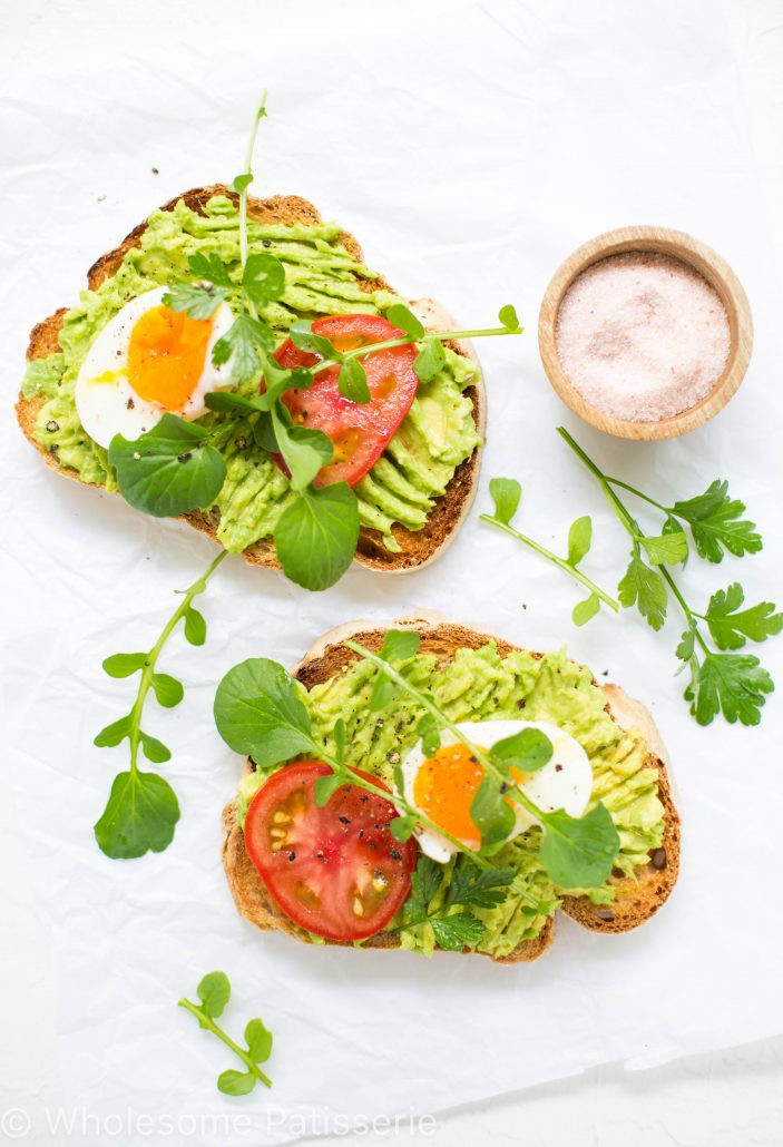 Healthy Breakfast With Hard Boiled Eggs  Smashed Avocado Toast